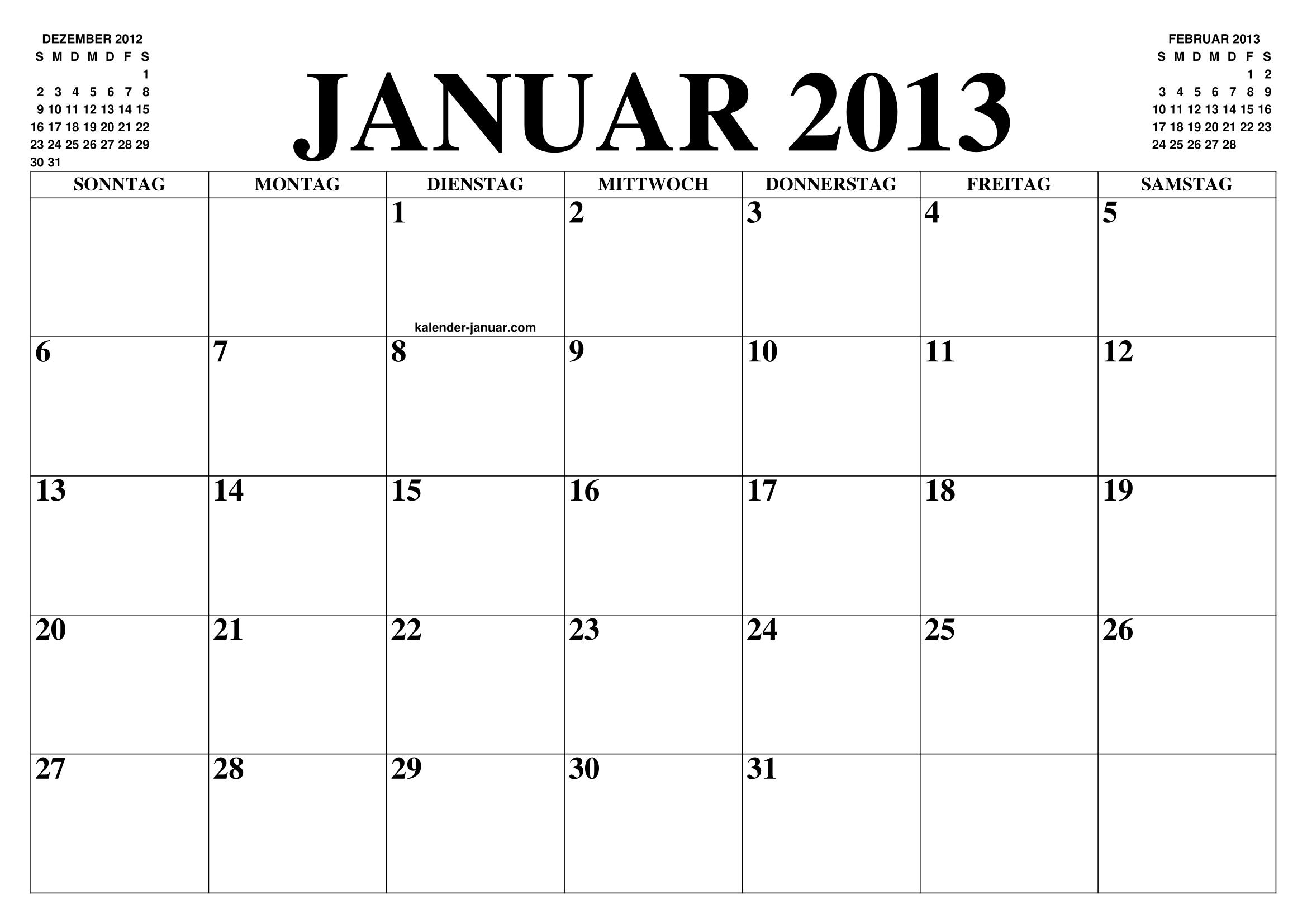 kalender januar 2013 januar kalender zum ausdrucken gratis monat und jahr agenda. Black Bedroom Furniture Sets. Home Design Ideas