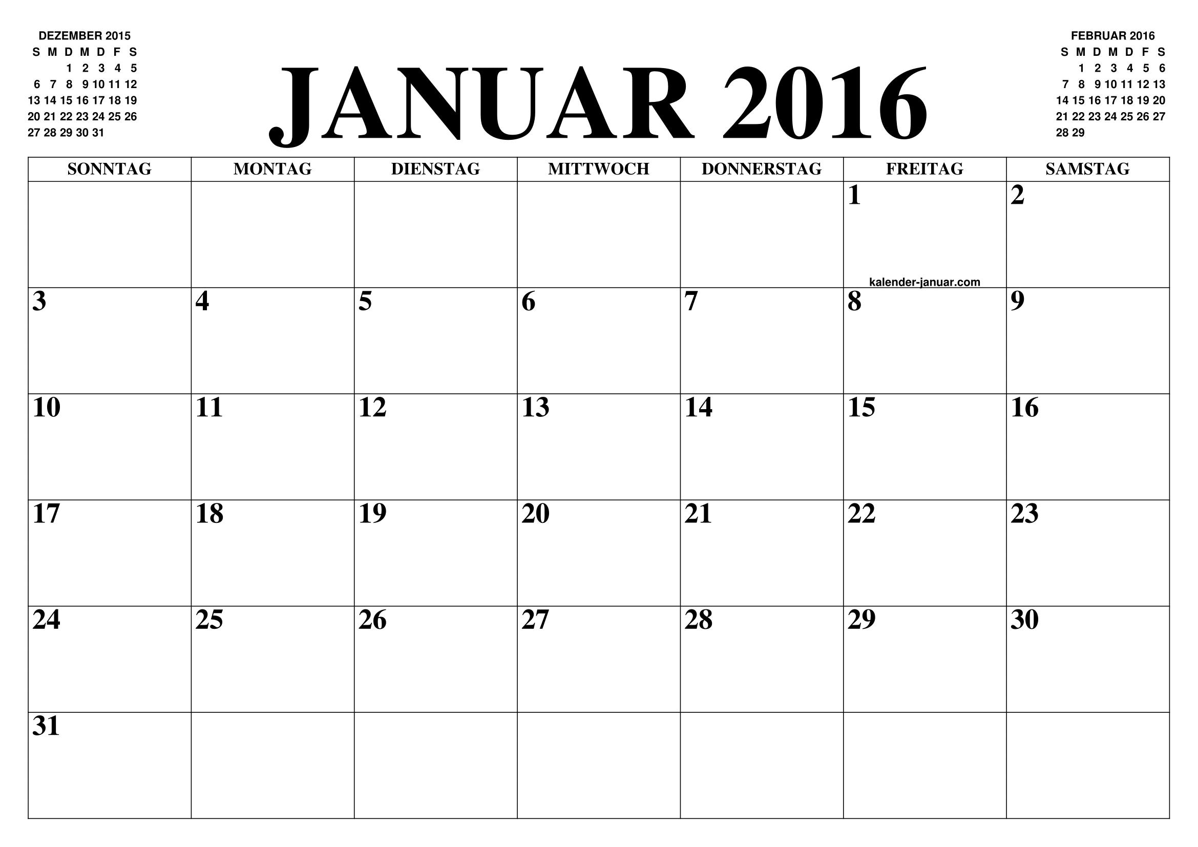 kalender januar 2016 januar kalender zum ausdrucken gratis monat und jahr agenda. Black Bedroom Furniture Sets. Home Design Ideas